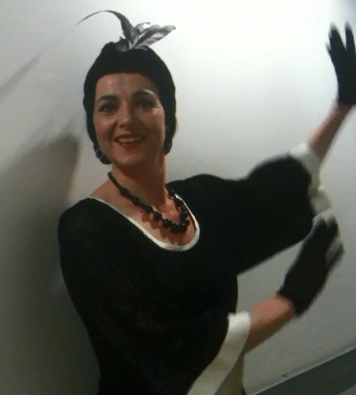 Clare McCaldin backstage at the Royal Opera's La Rondine, practising her flapper characterisation