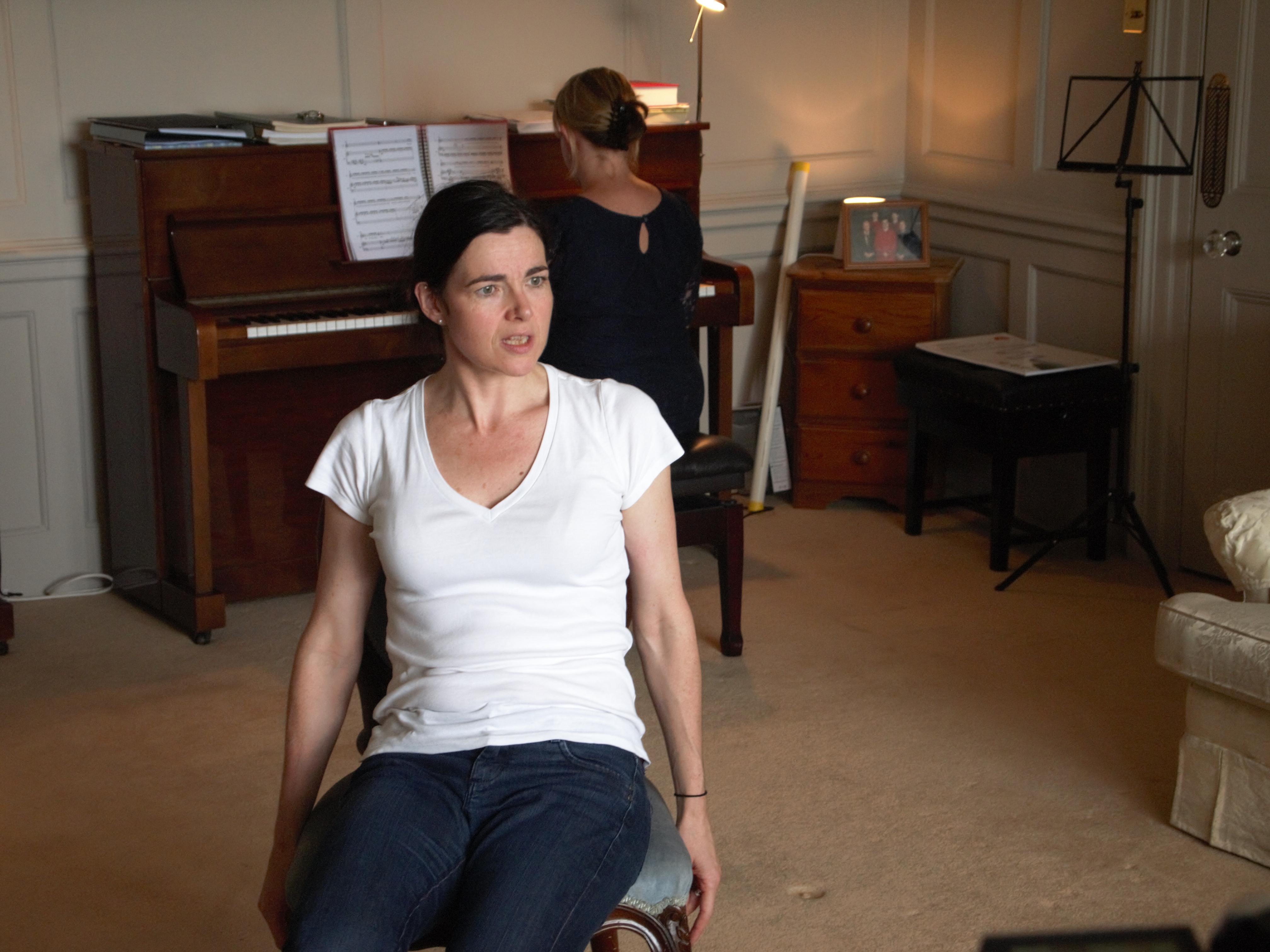 Clare McCaldin rehearses Vivienne